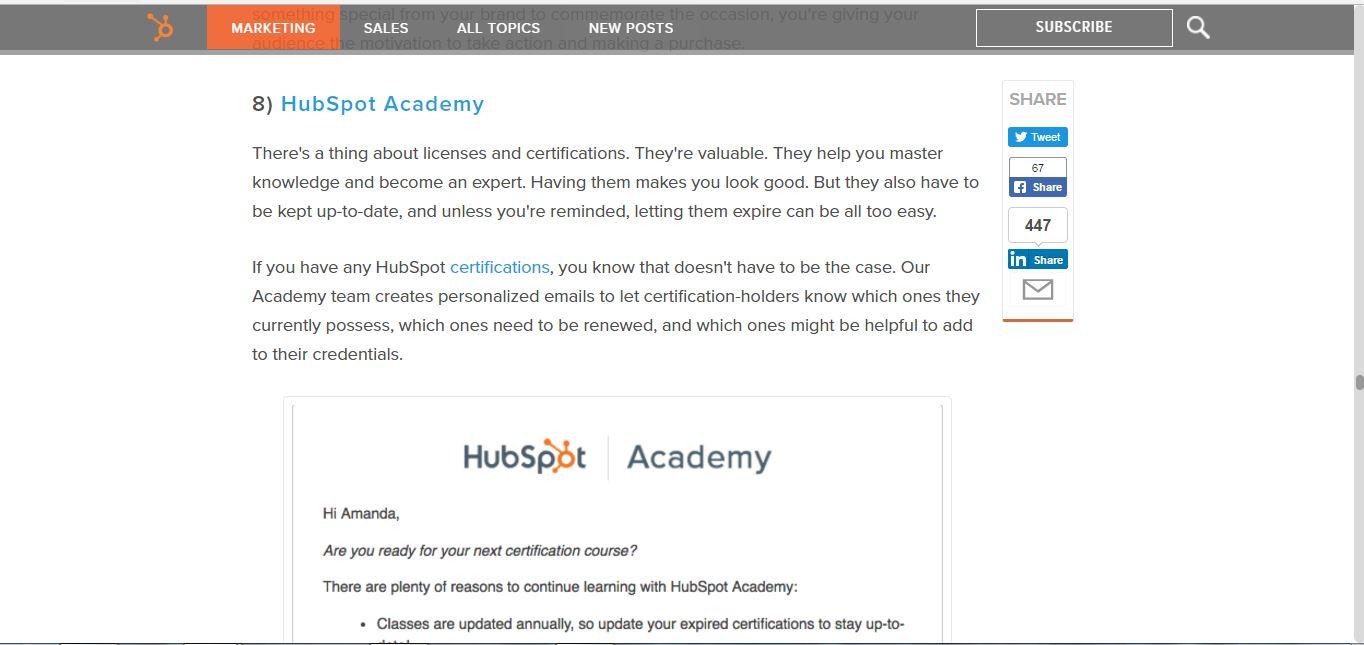 HubSpot blog post