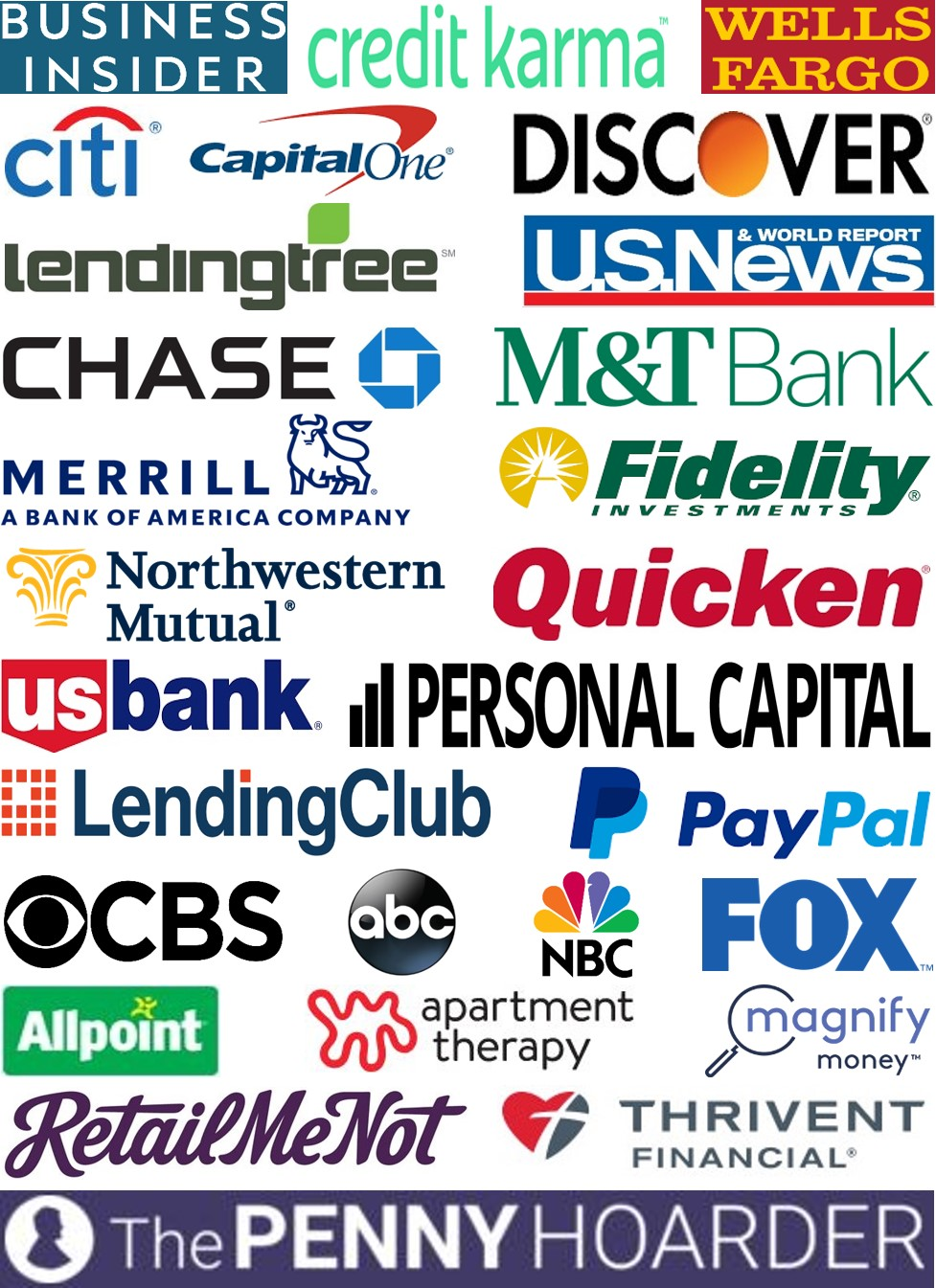 Business Insider, Credit Karma, Wells Fargo, Citi, Capital One, Discover, Lending Tree, U.S. News & World Report, Chase, M&T Bank, Merrill Edge, Fidelity Investments, Northwestern Mutual, Quicken, U.S. Bank Personal Capital, LendingClub, PayPal, CBS, ABC, NBC, FOX, Allpoint, Apartment Therapy, Magnify Money, RetailMeNot, Thrivent Magazine, The Penny Hoarder